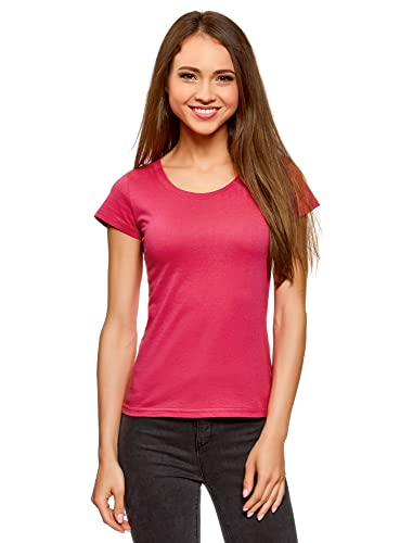 oodji Ultra Donna T-Shirt Basic in Cotone
