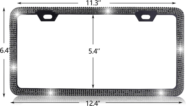 Black LFINE License Plate Frame 2 Holes Bling Handcrafted Rhinestone Premium Stainless Steel Slim Bottom Design with Screw Set
