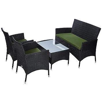 Ultranatura Ensemble lounge en polyrotin de gamme Palma (4 éléments) Table  + Canapé + 2 Fauteuils avec Coussins en Poly Rotin Noir/Vert 103 x 42 x 65  ...