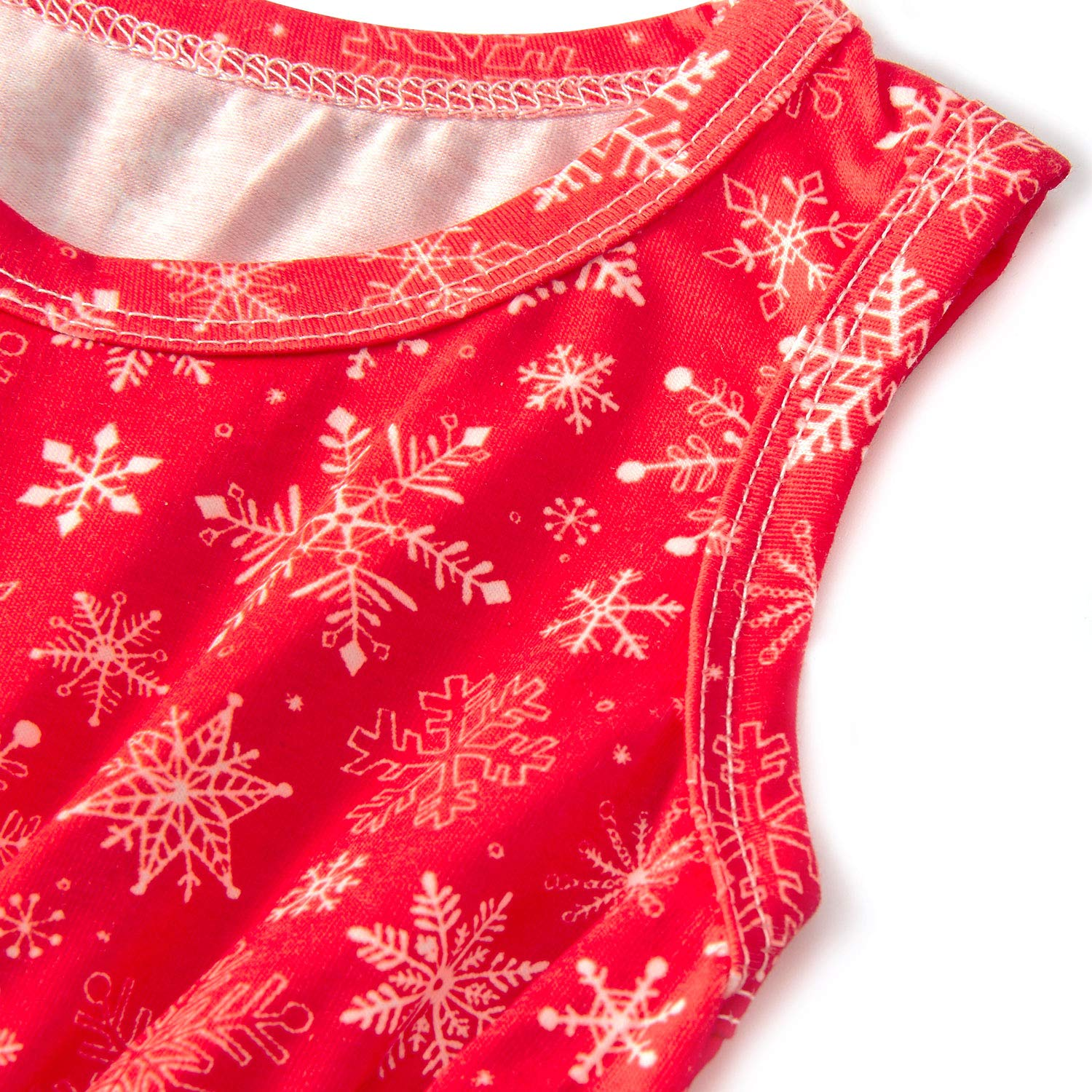 RAISEVERN Red Harem Jumpsuit for Kids Girls Snap Button Playsuit Spring Sleeveless Snowflake Printed for 12-18 Months Baby Onesies Set