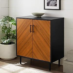 Walker Edison Fehr Mid Century Modern 2 Door Bookmatch Accent Cabinet , 28 Inch, Solid Black
