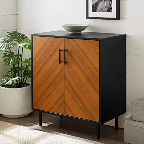 Walker Edison Furniture Company Mid Century Modern Bookmatched Kitchen Buffet Accent Entryway Bar Cabinet Storage Entry Table Living Dining Room
