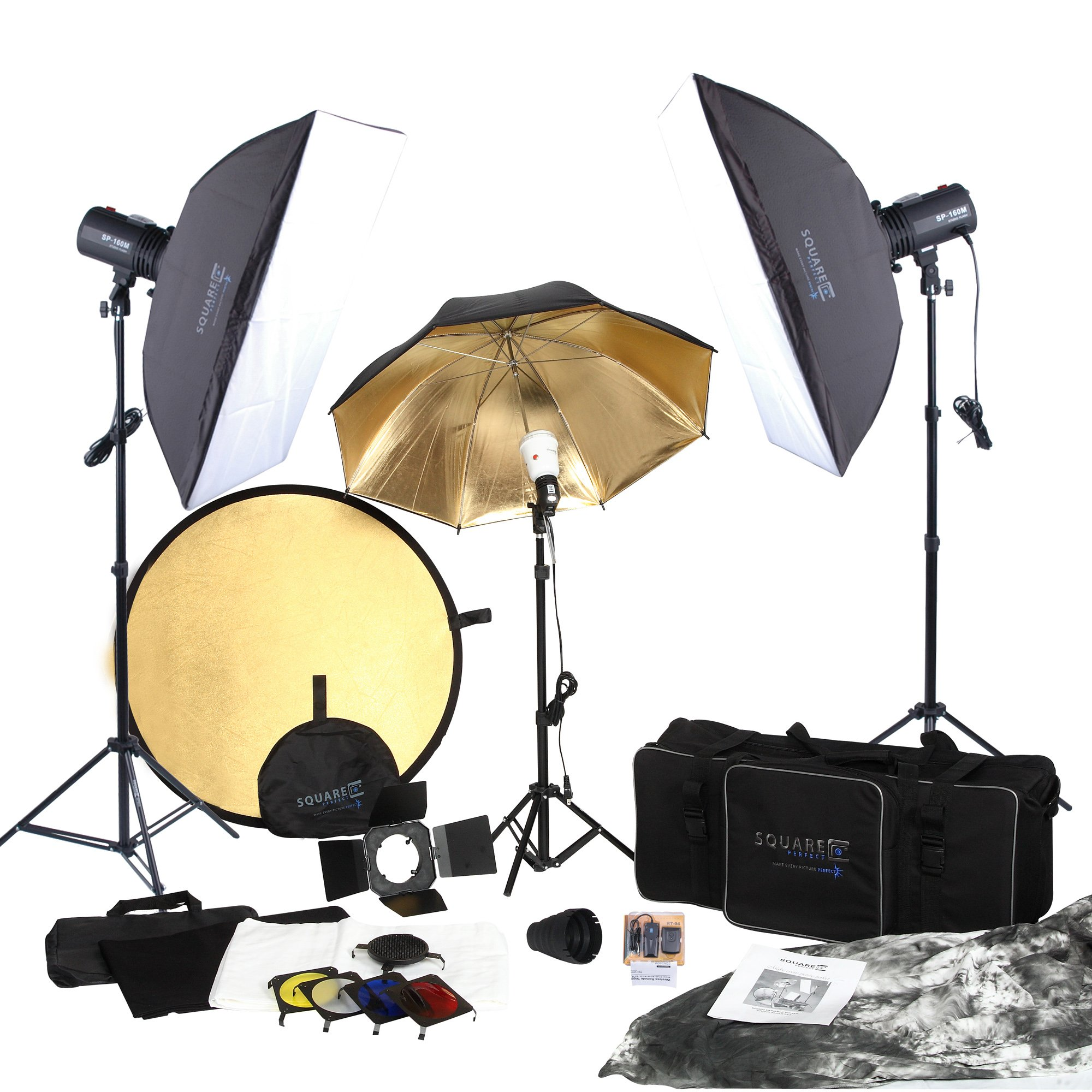 Square Perfect 5080 SP3500 FLASH KIT Complete Portrait Studio Kit with Flashes Softboxes Gels and Barn Door by SQUARE PERFECT