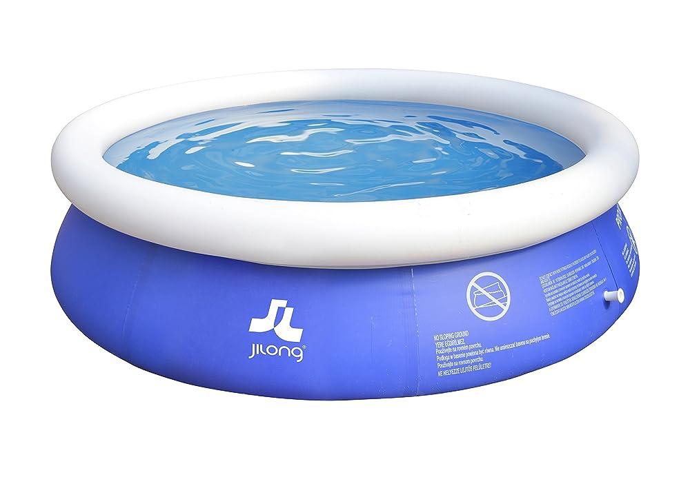 Jilong 10201EU Prompt Set, piscina fuori terra rotonda con anello gonfiabile dal diametro di 240 cm