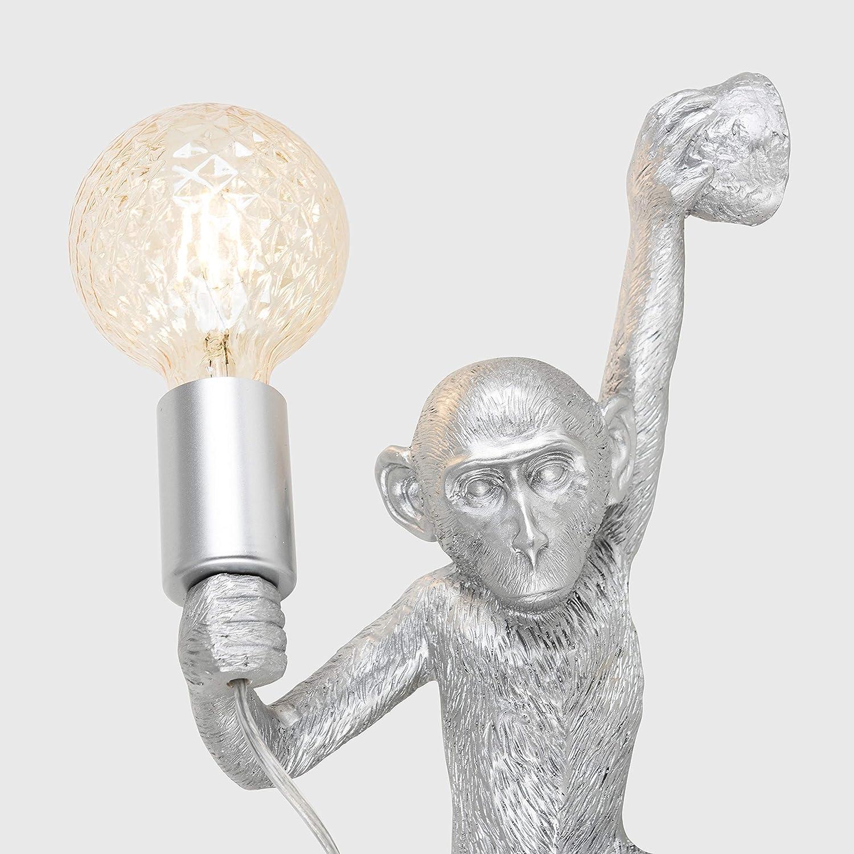 Modern Metallic Silver Monkey Holding Light Bulb Design Wall Light