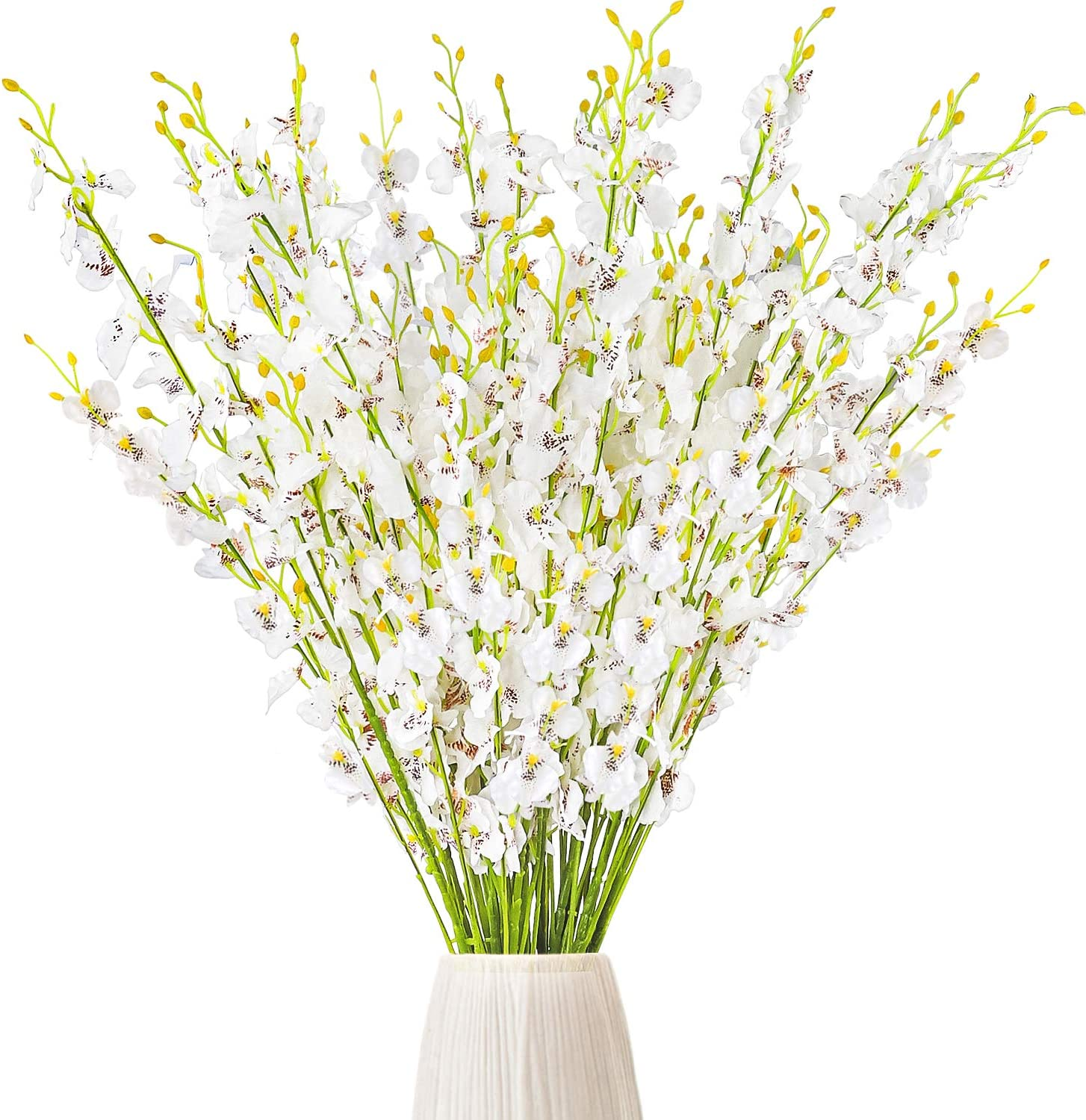 CEWOR 15pcs Artificial Orchids Flowers Silk Fake White Orchids Flowers Faux Dancing Lady Orchids Stems for Wedding Home Office Festive Party Decoration