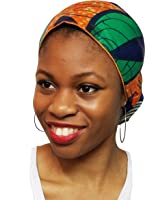 Orange,Green and Blue African Print Ankara Head wrap, Tie, scarf, Multicolor One Size