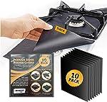 10 pack, gas stove protector, stove burner liners, stovetop range protectors,