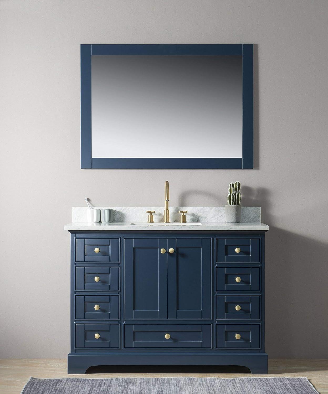 Amazon Com Urban Furnishing Jocelyn 48 Inch 48 Bathroom Sink Vanity Set With White Italian Carrara Marble Top Blue Home Kitchen