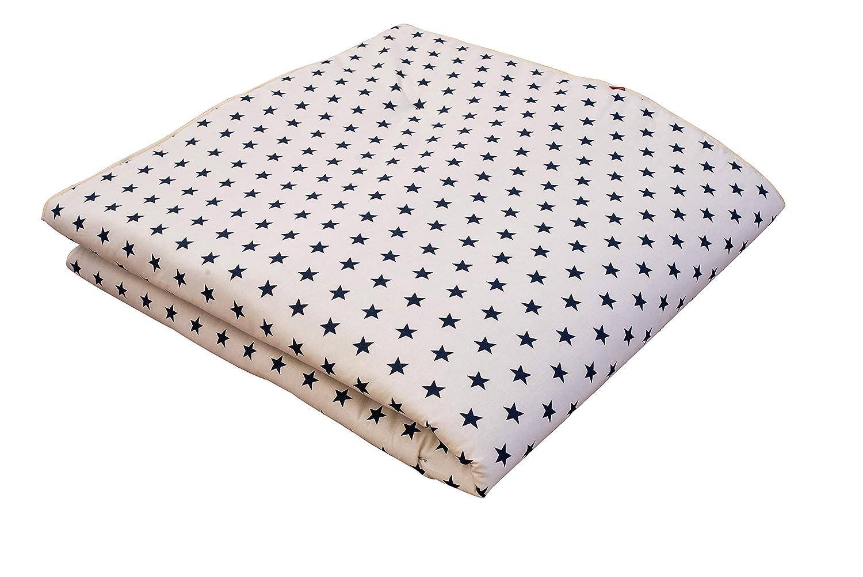 IDEENREICH Baby Krabbeldecke King Size| Sterne weiß-blau | 150x180cm | ideal als Spieldecke, Krabbeldecke und Laufgittereinlage 2284