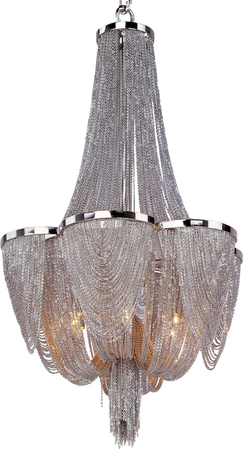 Maxim 21464NKPN Chantilly Jewelry Chain Chandelier, 6-Light Xenon 240 Watts, 22 H x 14 W, Polished Nickel