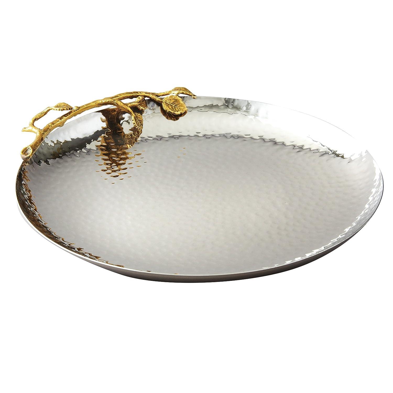 Enesco ENEYA HK70024 Plate Gilded Leaf Round Kit Utensil, Gold/Silver Elegance Silver