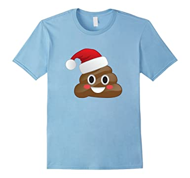 mens funny emoji santa hat christmas poop shirt for kids adults 3xl baby blue - Christmas Poop