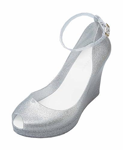 e1d47e0b0a99 Forever Rosemary-86 Women s Peep Toe High Wedge Heel Jelly Sandals