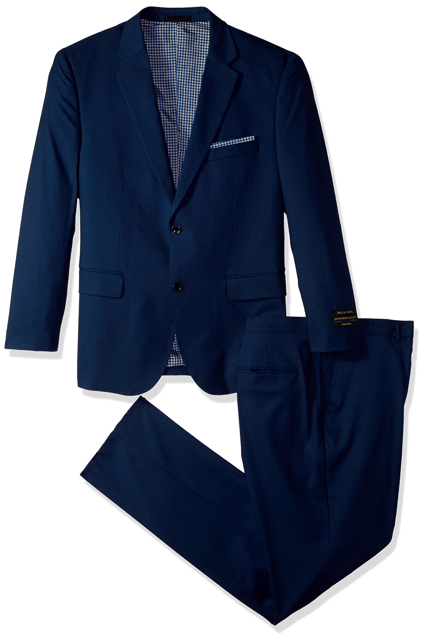 Alexander Julian Colours Men's Big and Tall Single Breasted Modern Fit Suit, French Blue, 54 Long
