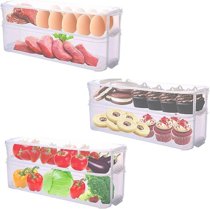 Pack 3 Cajas de Almacenamiento para Refrigerador Congelador ...
