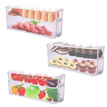 Pack 3 Cajas de Almacenamiento para Refrigerador Congelador - Organizadores Apilables para Cajones Cocina Alacena Contenedores