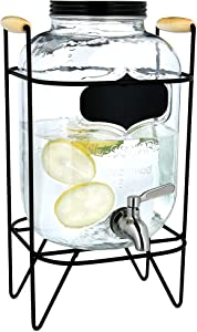 Navaris Beverage Dispenser with Spigot and Stand - 1.3 Gallon (5L) Glass Drink Jar with Tap and Metal Wire Stand - For Cold Drinks, Ice Water