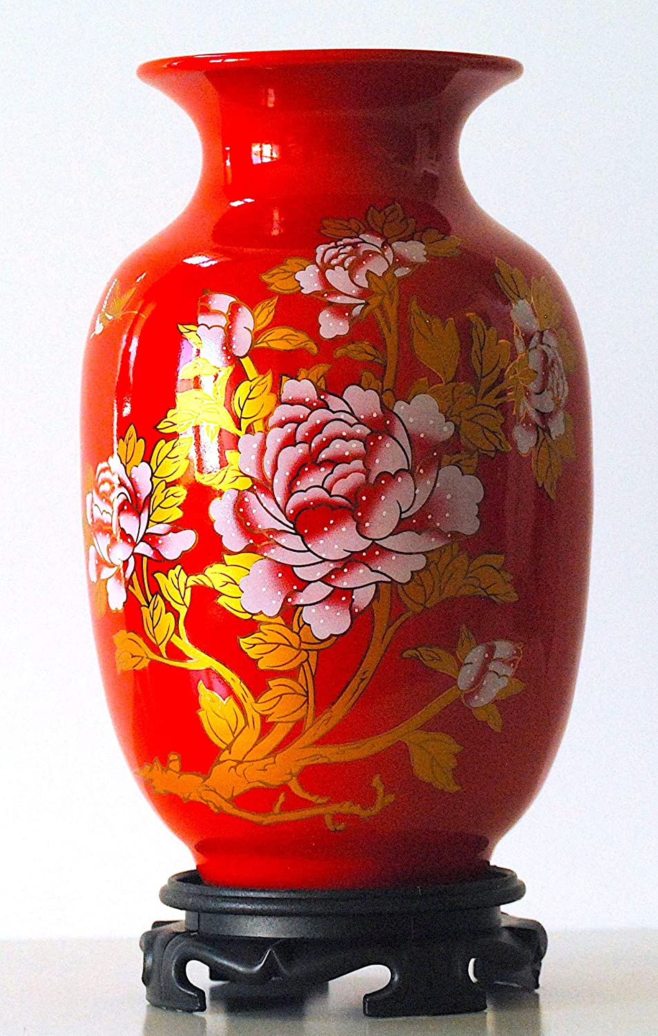 """Yuyi Red Porcelain Vase 8"""", Chinese Painting (Flower and Butterfly) Patterns, Famille Rose Porcelain, Home Décor, Oriental Craftwork, Color: Red, Golden, Pink, Chinaware"""