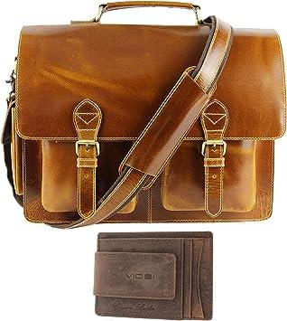 """Buffalo Leather Briefcase 17/"""" Laptop Messenger Bag Satchel Business Shoulder Bag"""