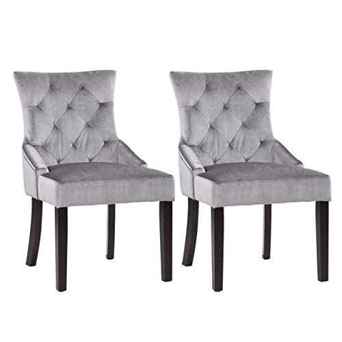 CorLiving Antonio Accent Chair in Soft Grey Velvet, Set of 2