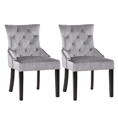 Accent Chairs Sold In Pairs.Corliving Lad 480 C Antonio Accent Chair In Soft Grey Velvet Set Of 2