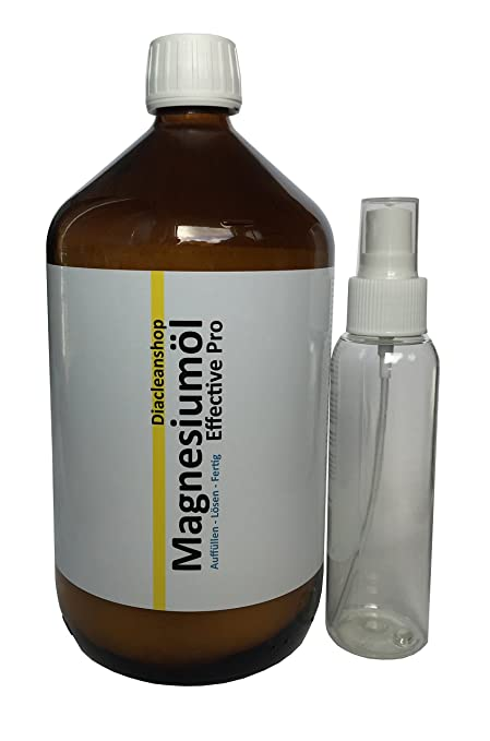 Aceite de magnesio Effective Pro, 1000 ml y botella de spray de 100 ml para