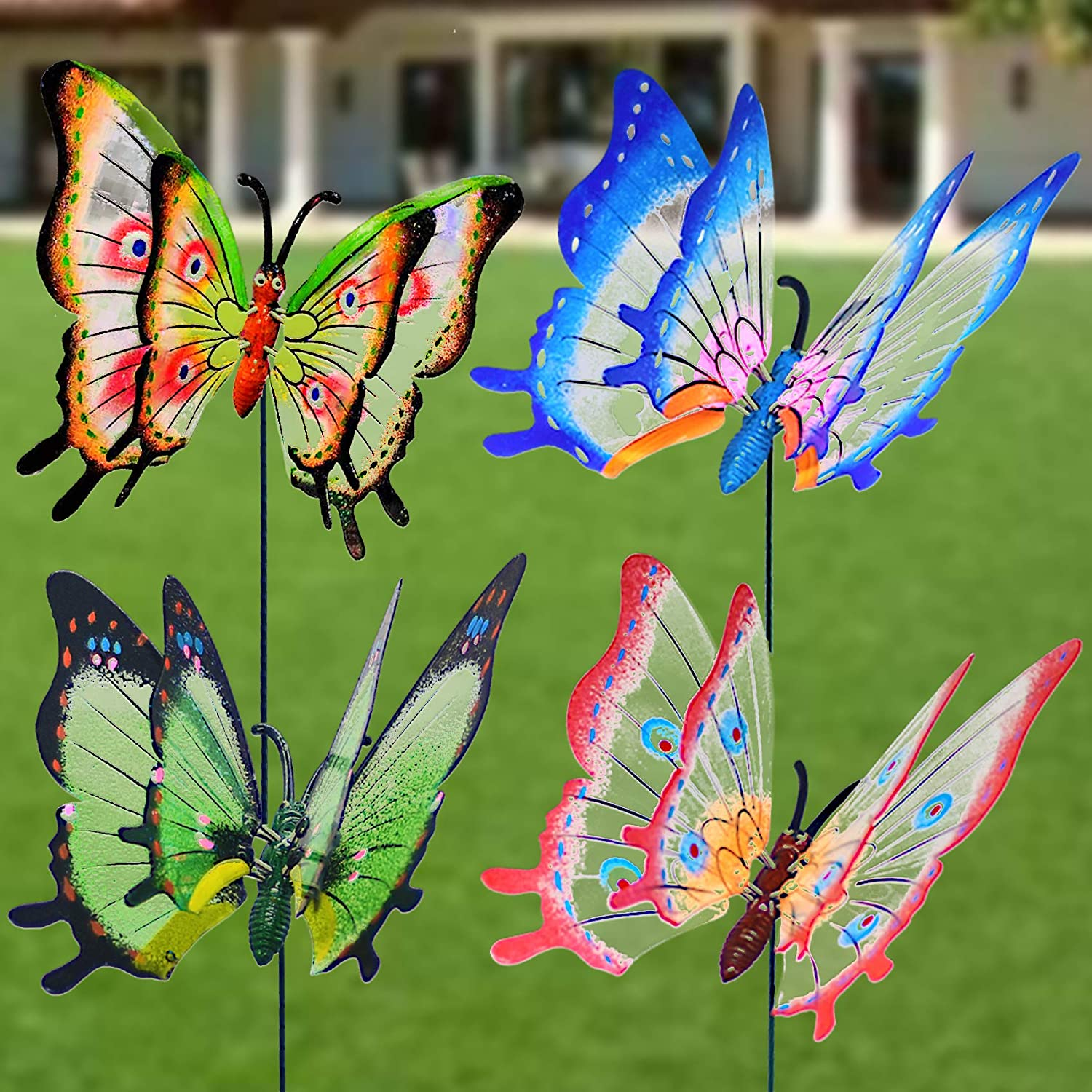 FENELY Giant Butterfly Garden Stakes Decorations Outdoor 3D Large Butterflies Lawn Decorative Yard Decor Patio Accessories Ornaments Gardening Art Christmas Whimsical Gifts (Pack of 4)