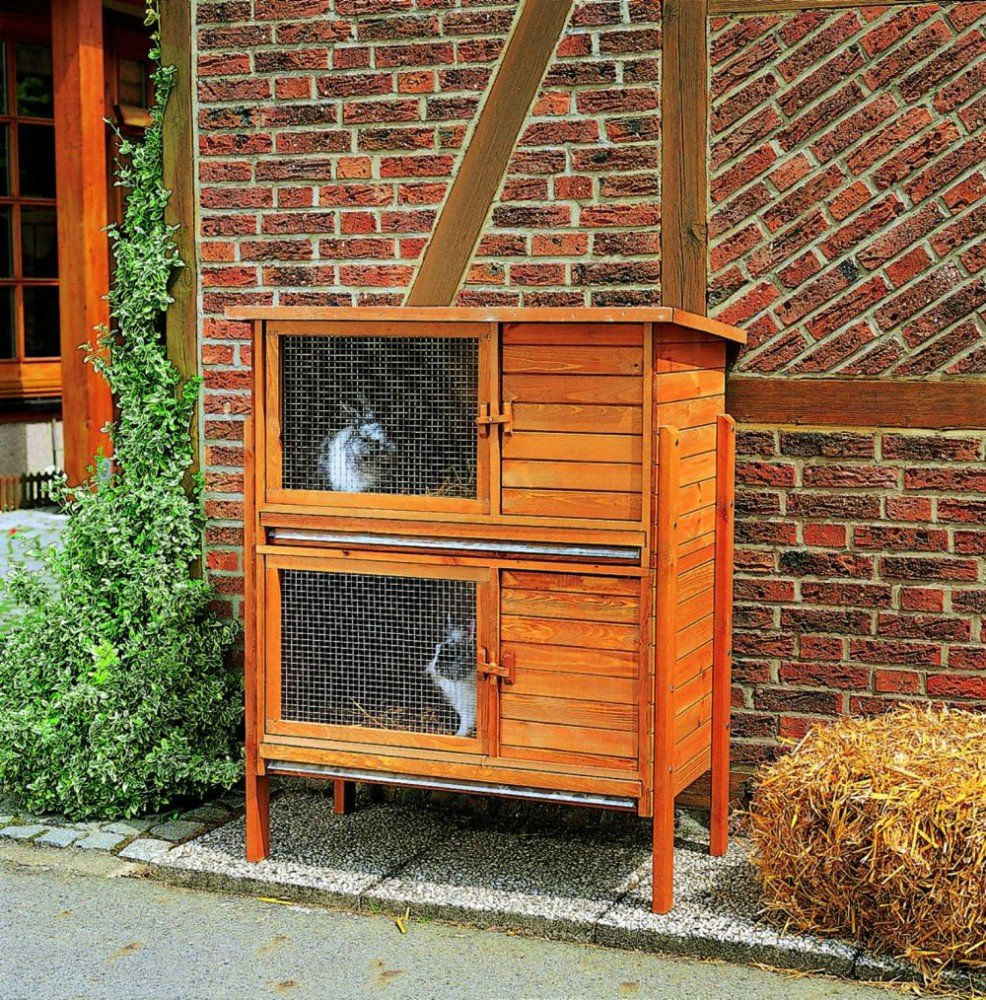 Holz-Hasenstall doppelt Nagerstall Kaninchenhaus Kaninchenstall