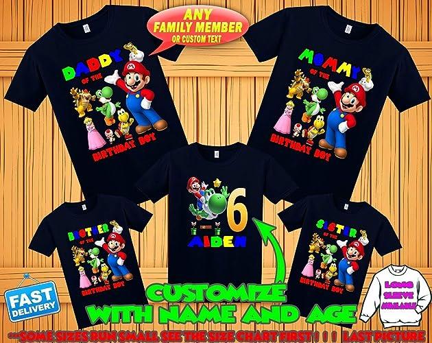 Personalized Mario and Luigi Birthday T-Shirt
