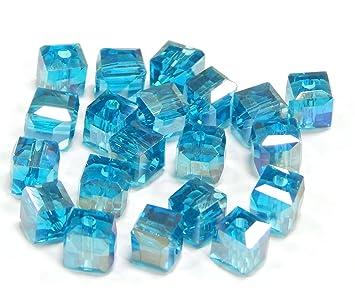 20 Glasschliffperlen in hellblau 6 mm