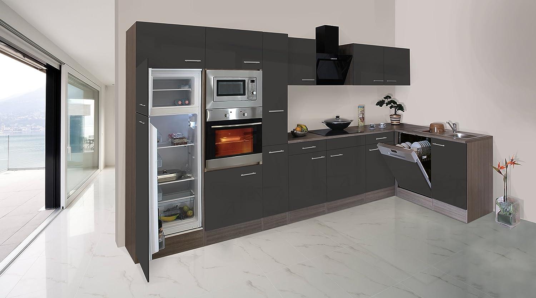 respekta Economy L-Form Winkel Küche Küchenzeile Eiche York grau 370x172cm