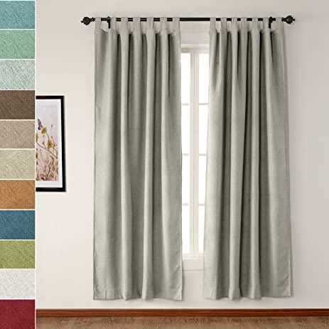 Tab Top Drapes Rock White 72W X 84L Inch Luxury Textured Faux Linen Window Curtain