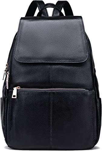 Coolcy Casual Women Real Genuine Leather Backpack Black