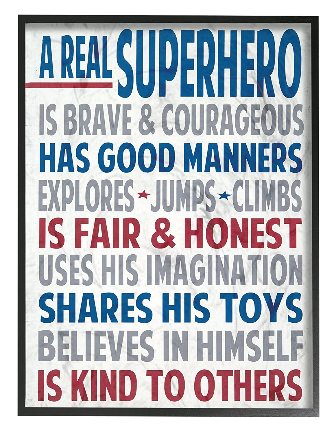 The Kids Room by Stupell Typography Art Wall Plaque, A Real Superhero Stupell Industries brp-1706