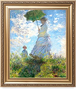 DECORARTS - 'The Walk, Woman with a Parasol (1875)' by Claude Monet. Classic Art Reproduction, Giclee Print on Canvas. Ready to Hang Framed Wall Art for Wall Decor. Total Size w/Frame: 30x26