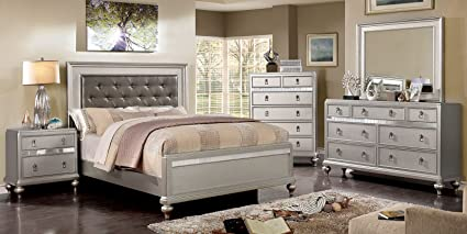 Amazon.com: Esofastore Glamorous Classic Bedroom Furniture Silver ...