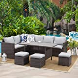 Wisteria Lane Patio Furniture Set,7 Piece Outdoor Dining Sectional Sofa Couch with Dining Table and Chair, All Weather Deck W