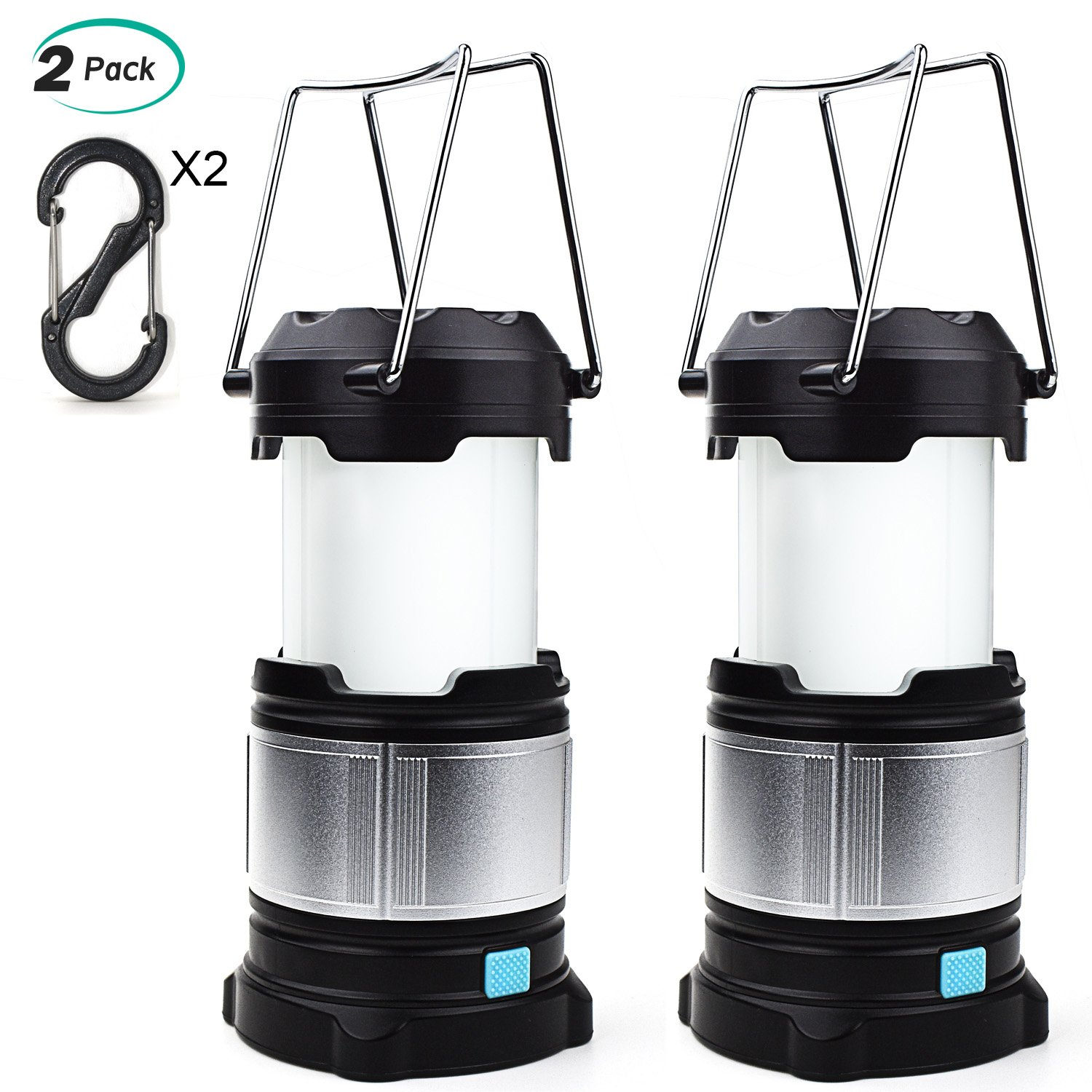 Alcoon 2 Packs Rechargeable LED Camping Lantern Light Lamp with 5600mAh Power Bank, Portable Collapsible Waterproof Outdoor Light with 18650 Li-ion Batteries for Camping Traveling Tent, Emergency