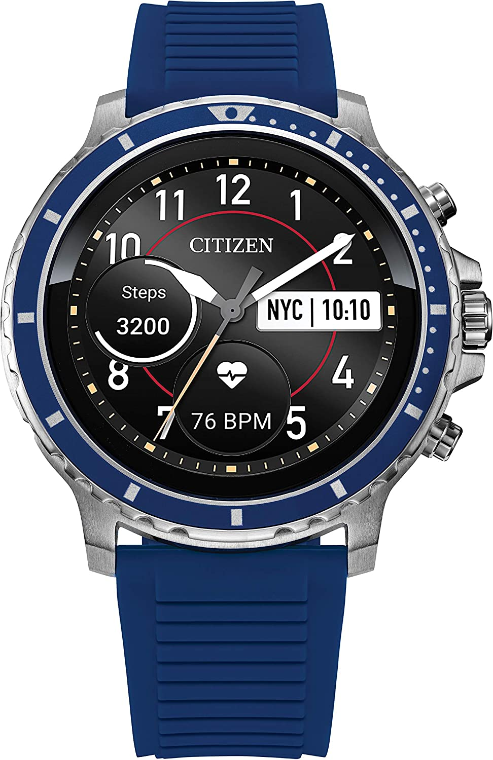 Citizen CZ Smart Stainless Steel Smartwatch Touchscreen, Heartrate, GPS, Speaker, Bluetooth, Notifications, iPhone and Android Compatible, Powered by Google Wear OS