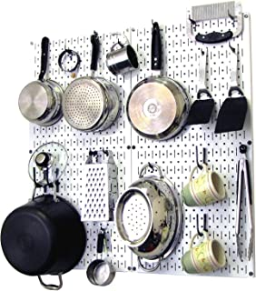 product image for Wall Control Kitchen Pegboard Organizer Pots and Pans Pegboard Pack Storage and Organization Kit with White Pegboard and Black Accessories