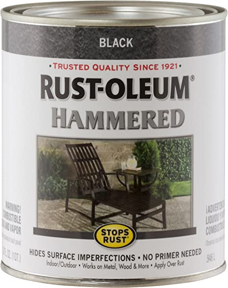 Rust Oleum 7215502 Hammered Metal Finish Black 1 Quart Packaging May Vary