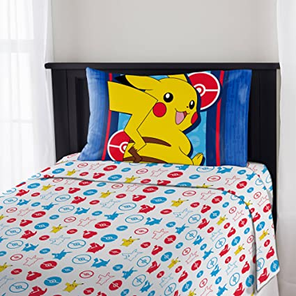 3 Piece Boys Blue Yellow Pokemon Electric Ignite Sheet Twin Set, Red White  All Over