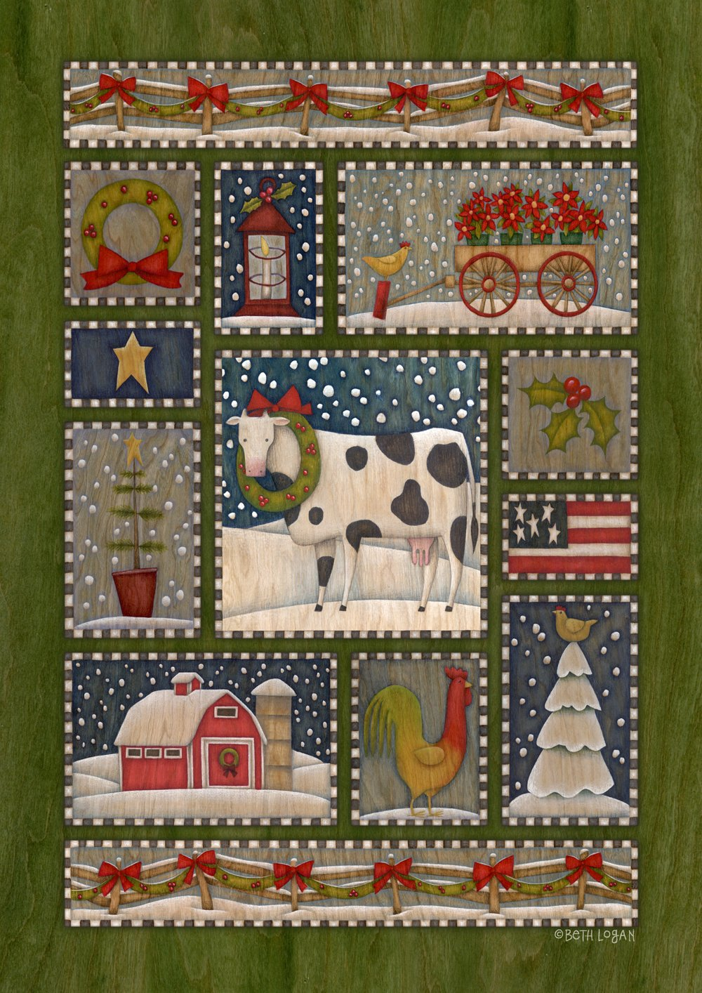 Toland Home Garden Festive Farm 12.5 x 18 Inch Decorative Americana Country Christmas Winter Barnyard Garden Flag