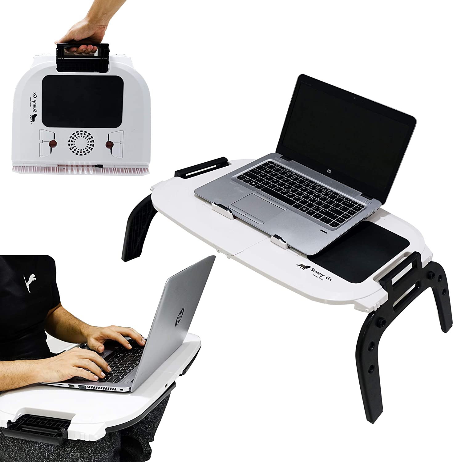 Sunny Gx Foldable Laptop Table - Multifunction Can Be used on Bed, Desk Stand, Table, Sofa, Couch Wood & Most Importantly On Lap, 2 Cooling Fans, Suitable Working, Writing, Reading, Eating (Off White)