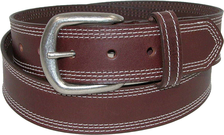 Boston Leather Mens Big /& Tall Leather Contrast Triple Stitch Bridle Belt