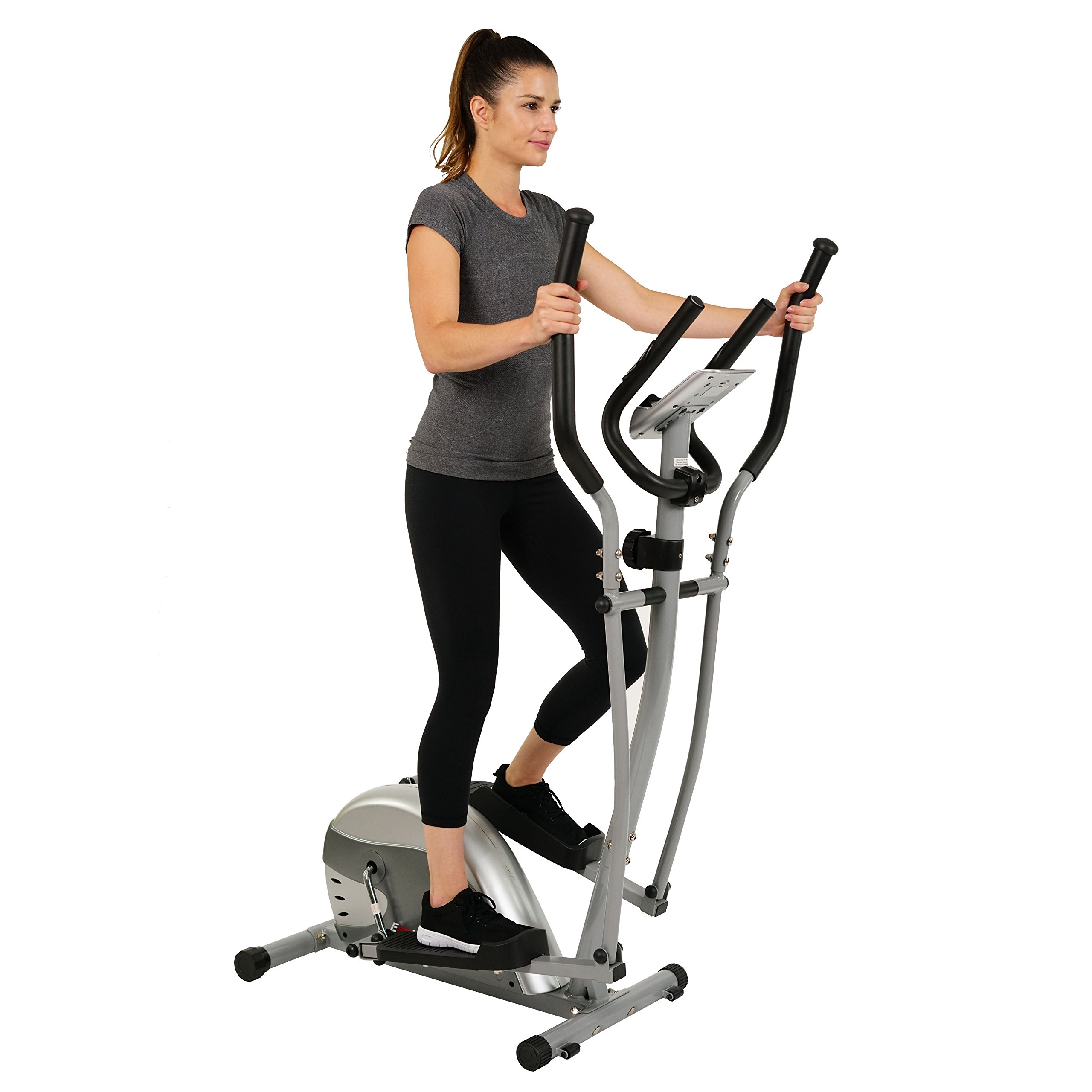 EFITMENT Compact Magnetic Elliptical Machine Trainer with LCD Monitor and Pulse Rate Grips - E005 by EFITMENT