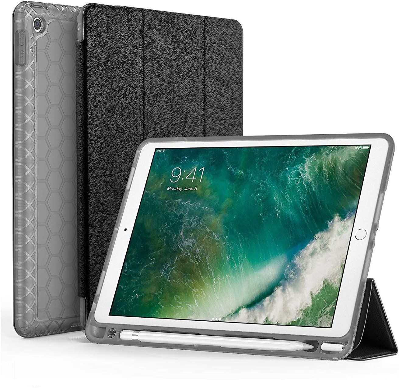 SWEES Compatible for iPad 9.7 2018/2017 Case with Pencil Holder, Shockproof Durable Smart Cover Leather Case with Built-in Apple Pencil Holder Compatible for iPad 9.7 inch 6th/5th Generation, Black