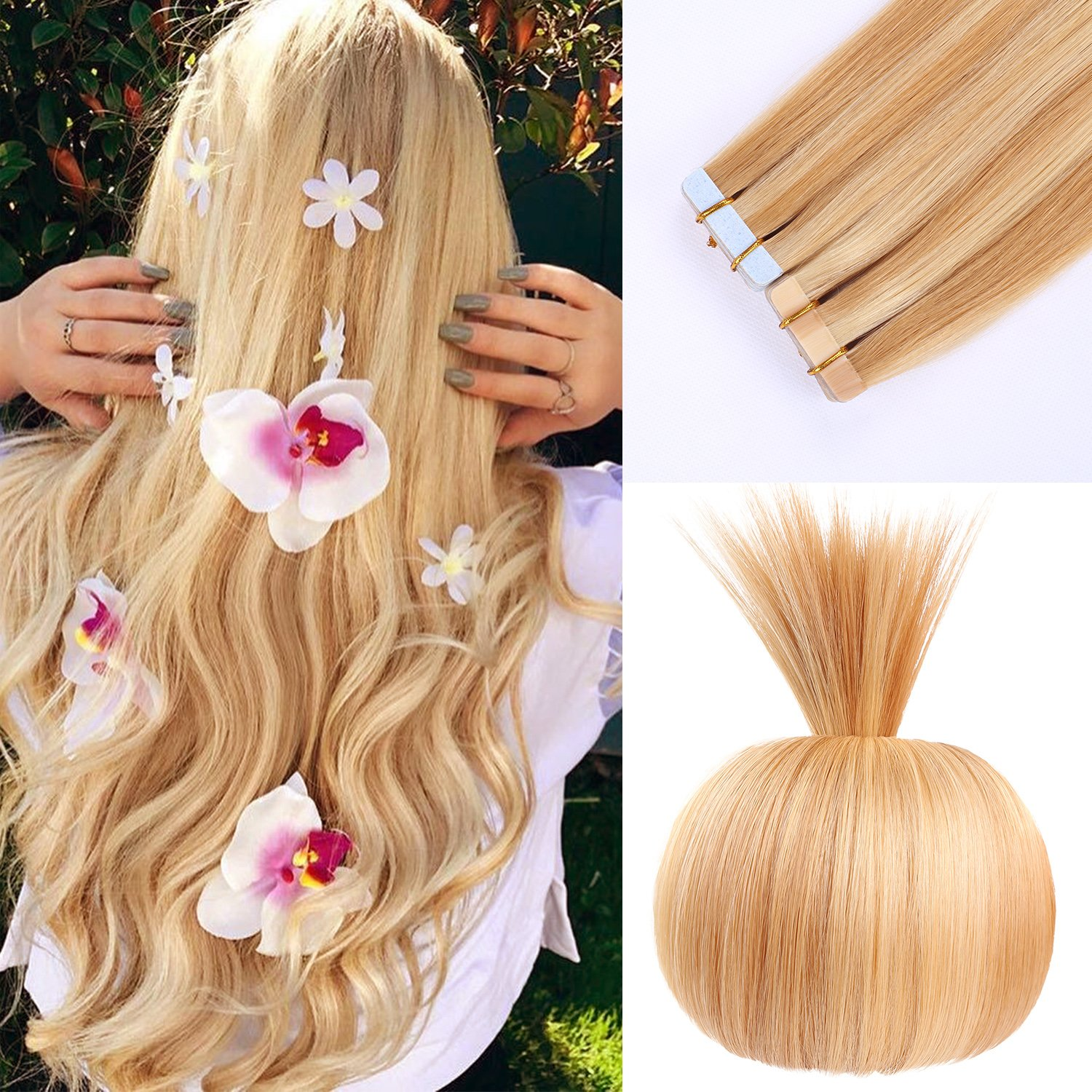 Amazon 16 Remy Tape In Human Hair Extensions Full Cuticle