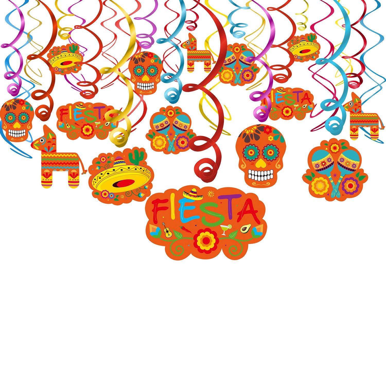 Konsait Fiesta Cinco de Mayo decorazioni pendenti, messicano accessori Festoni a spirale ghirlanda Hanging Swirl per messicano feste compleanno Carnevale decorazioni (30pack)